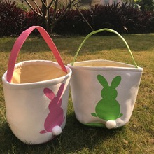2pcs canvas easter basket bunny ears good quality gift bags 4 color ds gift bucket Rabbit carring eggs easter party supplies(China)