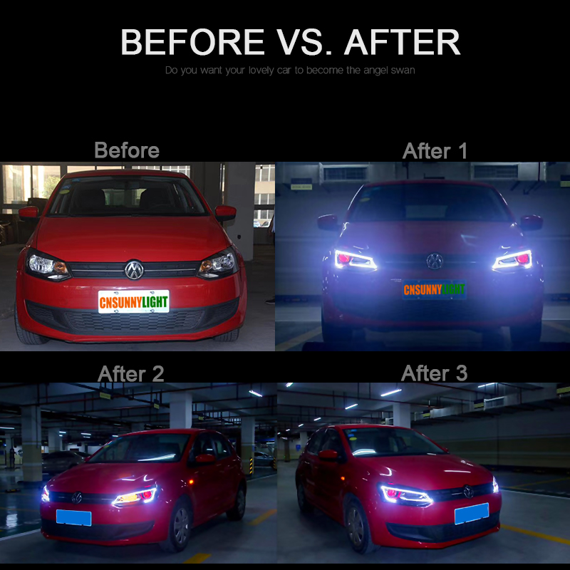 CNSUNNYLIGHT For Volkswagen Polo 2011-2017 Car Headlight Assembly with LED DRL Turn Signal Xenon HID Projector Lens Plug and Play (2)