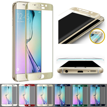 Hot Colorful 3D Curved Front Cover Full Coverage Tempered Glass Screen Protector Film Skin For Samsung Galaxy S6 Edge G9250(China)
