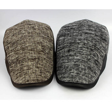 Men Beret Cap Golf Driving Solid Knitted Cotton Peaked Flat Cabbie Newsboy Hat HATCS0016