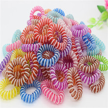 20Pcs Colorful Telephone Wire Line Rope Gum Hair Elastic Rubber Bands Scrunchy Ponytail Holder Hair Jewelry