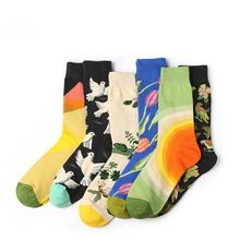 1Pair Colorful Popular Women Hosiery Cartoon Plant Style Cotton Socks Novelty Funny Pattern Unisex Skateboard Sock(China)