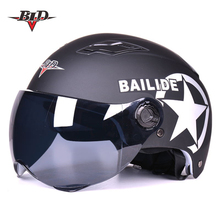 New Motorcycle summer Half Face Protective Helmet Visort MenWomen Adult Bicycle Helmets Side Stars Sunscreen Ventilation(China)