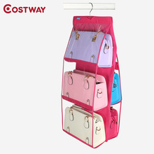 COSTWAY Dust proof Non-woven 6 Pocket Hanging Storage Bag Purse Handbag Tote Bag Storage Organizer Closet Rack Hangers U0765(China)