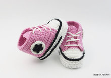 Crochet baby shoes, Crochet baby booties, Newborn Shoes, Pink baby girl sports shoes, Baby gift size 0-12 months
