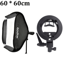 "Godox Studio Photo Flash Softbox Light Kit 60 x 60cm / 24"" * 24"" + S Type Bracket Bowens Mount Speedlite Soft Box 60x60 cm Set"