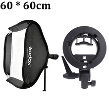 "Godox Studio Photo Flash Softbox Light Kit 60 x 60cm / 24"" * 24"" + S Type Bracket Bowens Mount Speedlite Soft Box 60x60 cm Set(China)"