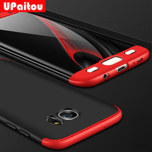 UPaitou 360 Degree Full Cover Red Cases For Samsung Galaxy S7 Edge G935F Case 3in1 Hard PC Coque Case Cover For S7 Edge G935FD(China)