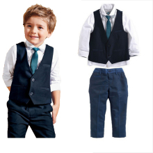 2016 leisure baby boys clothes set gentleman handsome formal wear for weddings vest+white t-shirt+suit pants free shipping