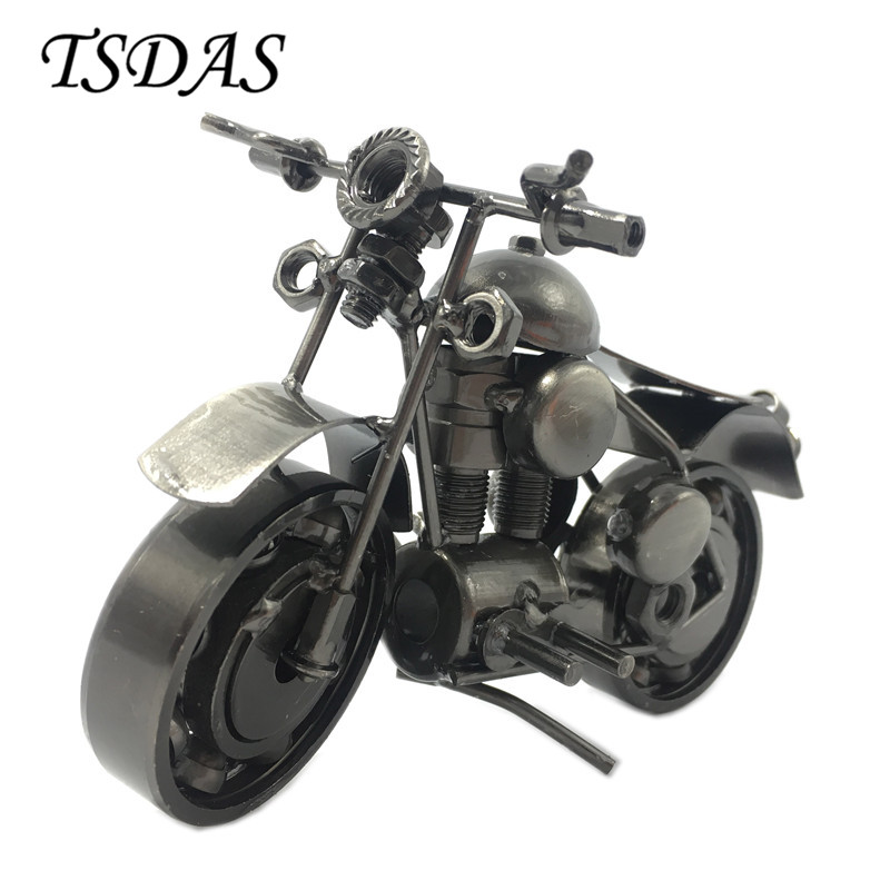 Vintage Style Metal Motorcycle Model With 2 Colors Iron Motor Bike Model Toy Handmade Display Home 1pc Drop Ship(China)