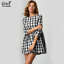 Dotfashion Raglan Sleeve Smock Dress 2017 Black And White Round Neck Short Dress 3/4 Sleeve High Waist A Line Dress(China)