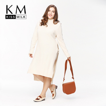Kissmilk Plus Size New Fashion Women Clothing Solid Side Split Casual Tops O-Neck Long Sleeve Big Size Long Sweater 3XL 4XL 5XL(China)