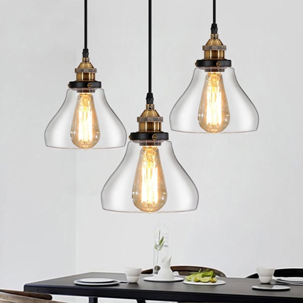 Modern Bell Lamp Metal + Glass Lampshade Pendant Lamp E27 Clear Glass Droplight Pendant Light For Bedroom Lighting<br>