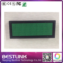 10 pcs super quality led name tag min led sign green color led business card programmable and rechargeable led panel moving sign