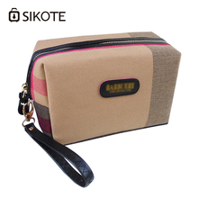 SIKOTE Cotton Linen Fashionable Makeup Square Plaid Women Cosmetic Bag Convenient Toiletry Travel Holder Zipper Storage Bag(China)