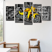 5 Piece Art Canvas Painting HD Printed Home Room Decoration Yellow Race Motorcycle Retro Style Picture Art Canvas Poster