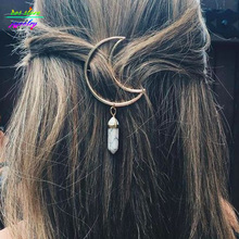 2017 New Vintage Natural Stone Moon Statement Hairpin Sweet Bobby Pin Bijoux Fashion Jewelry Hair Clip(China)