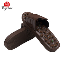 BYRIVER Jade Stone Acupuncture Reflexology Shiatsu Spring Rotating Massage Head Sandal Health Care Foot Massager(China)