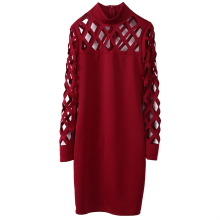 Hot fashion Women ladies Bandage Bodycon Long Sleeve hollow out o-neck Evening Party sexy pencil Mini Dres