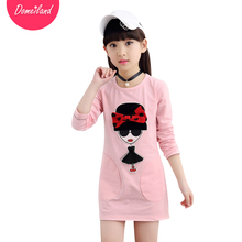 2017 spring Fashion brand domeiland Children clothes Girl Clothes Long Sleeve kids print bow T-Shirts Cotton Tops clothing(China)