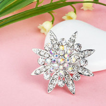 Free Shipping Promotion Cheap Fashion Brooch Crystal Flower Brooch Pins Women Wedding Silver Brooch(China)