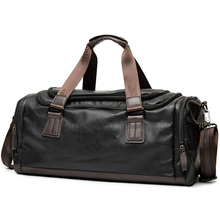 Waterproof Leather Travel Bag for Men Handbags 2017 Vintage Travel Duffle Bags Pu Leather Weekend Bag Men for Palaestra PT1211(China)