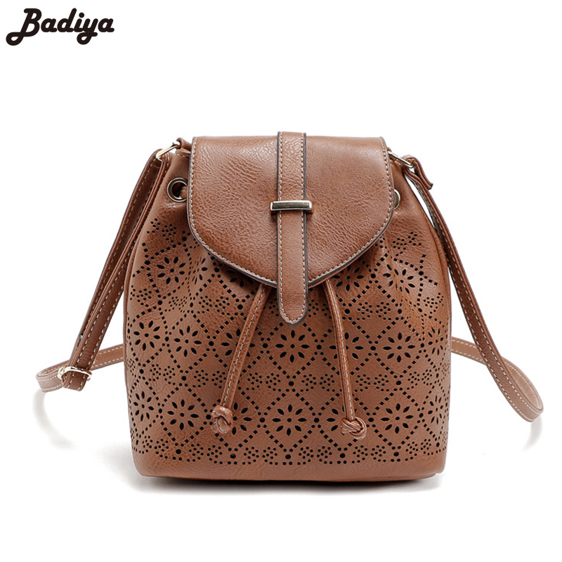 Vintage Fashion Crossbody Bag Flower Hollow Out String&amp;Hasp Bucket Bag Lady Messenger Bag Convenient Leather PU Womens Handbag<br><br>Aliexpress