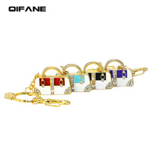 QIFANE 32GB 64G Metal crystal U Disk 4G 8G 16G Ladies handbag pen drive Creative diamond USB Flash Drive Jewellery memory stick