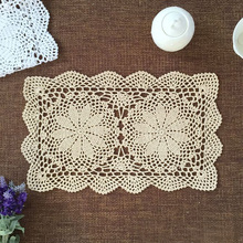 yazi 4PCS Handmade Table Placemat Cotton Hollow Floral Doily Pads Crochet Table Mat Table Cover Tablecloths Home Decor