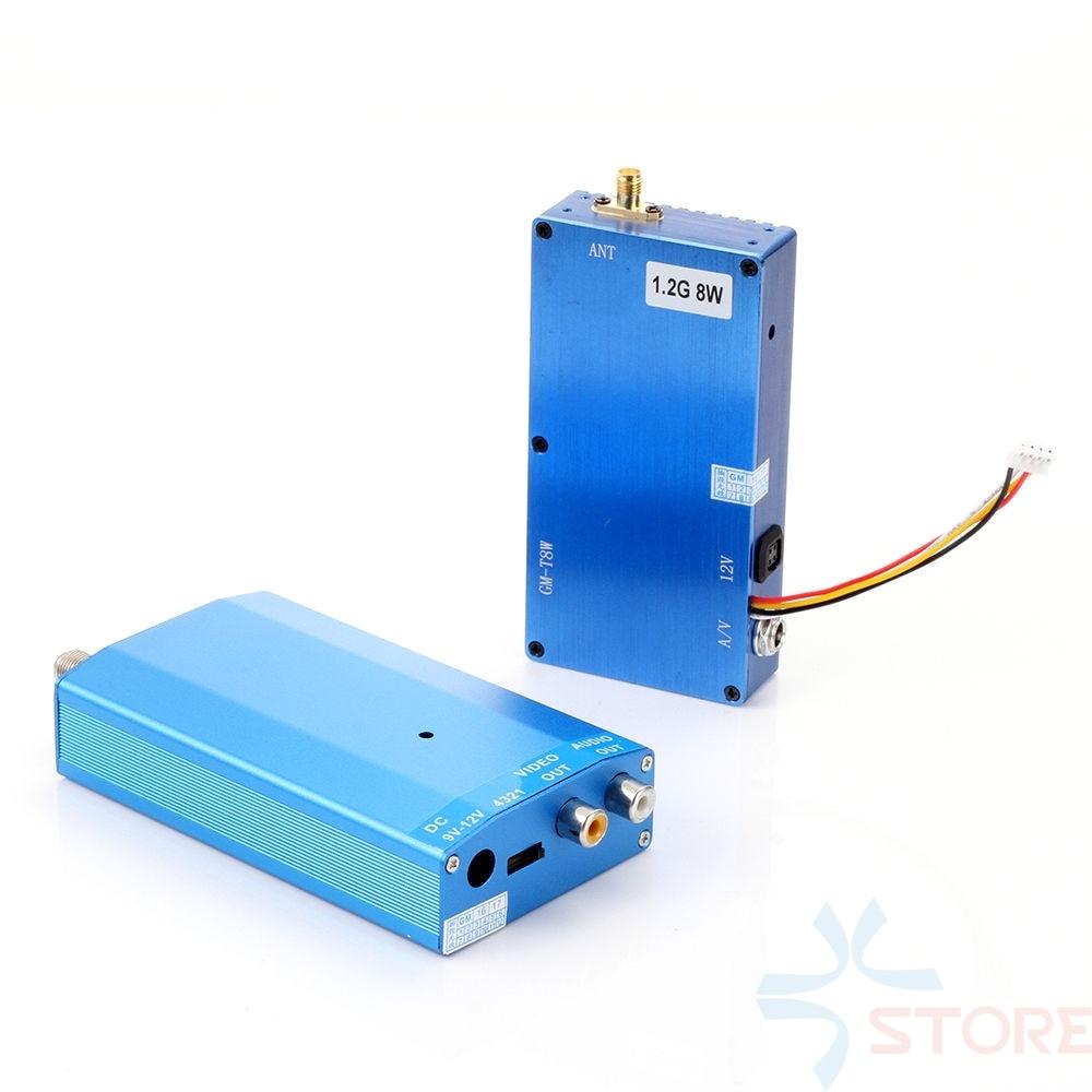 Wireless Digital 1.2G 8W 4CH AV Transmitter & Receiver Audio Video Transmission System Transceiver Telemetry Set