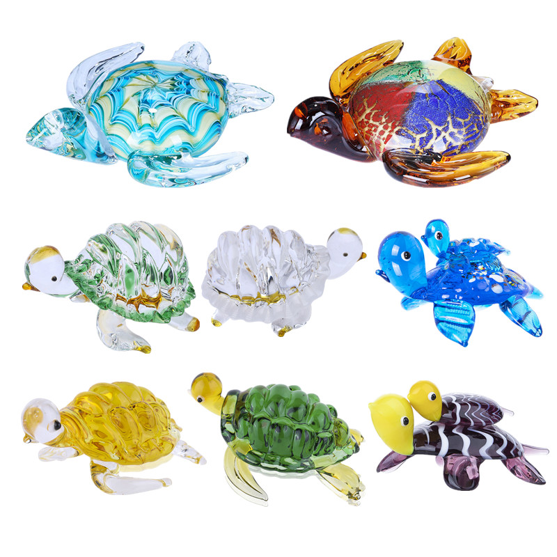 Murano Style Handicraft MINIATURE HAND BLOWN Art GLASS Fish FIGURINE Collection