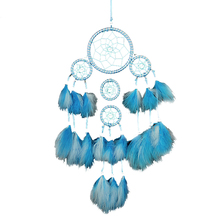 Blue and white multi - ring pendant jewelry dream home network wall hanging wedding decoration feather bells birthday gifts(China)