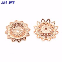 SEA MEW 100PCS Metal Brass 21mm 6 Colors Filigree Hollow Out Flower Setting Charms For Jewelry Making Components(China)