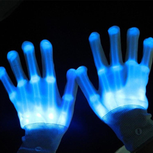 Colorful  LED Skull Finger Gloves Party Glow Christmas Halloween Gloves Flashing Unisex LED Rave Light  Party Stage Glove