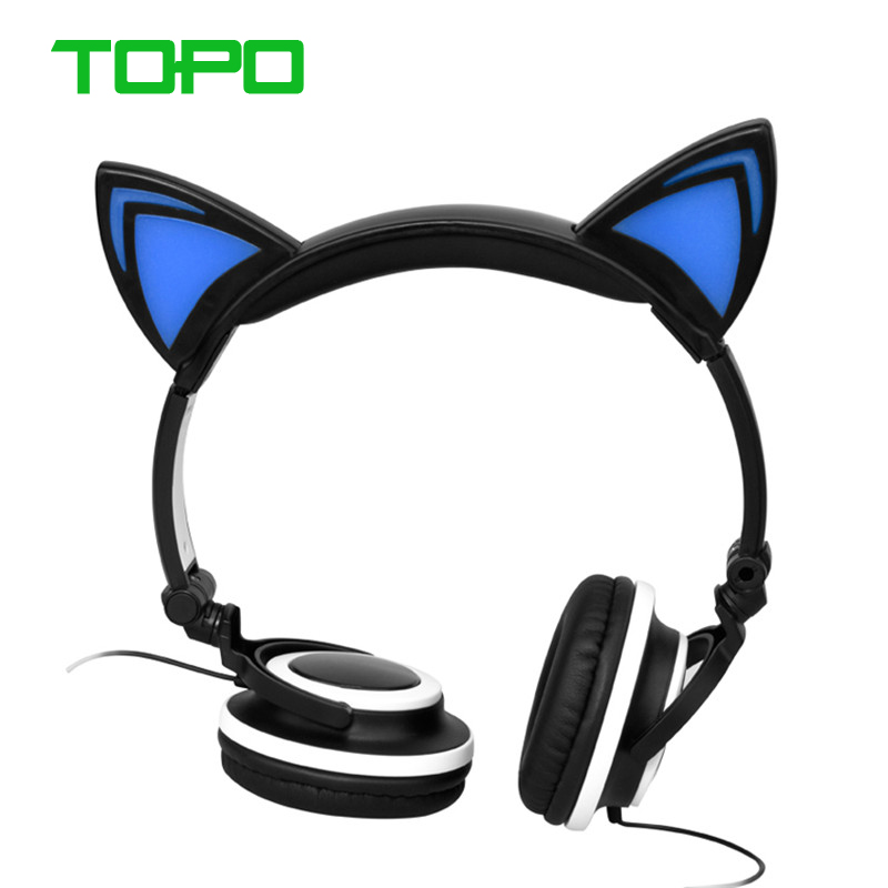 Cute Portable Foldable LED Light Headset Headphones Cute Active Noise Canceling Head phone Wired Stereo Gaming Headset<br><br>Aliexpress