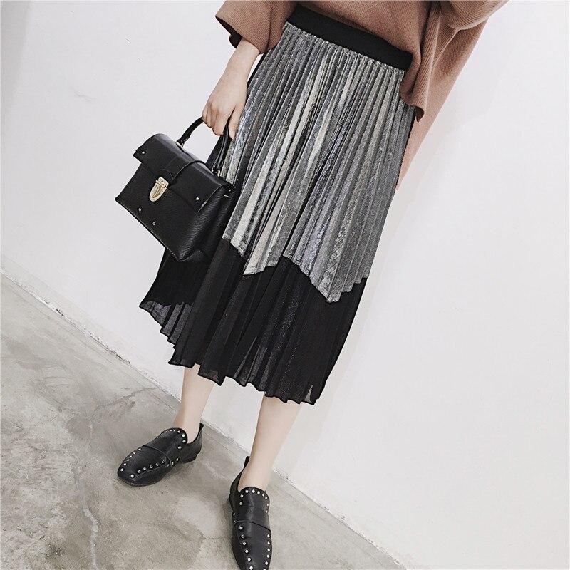 [GUTU] Autumn Summer 2018 Korean New Fashion Patchwork Color Bottoms All-match Elastic Waist Pleated Skirt Loose Women F89201 41
