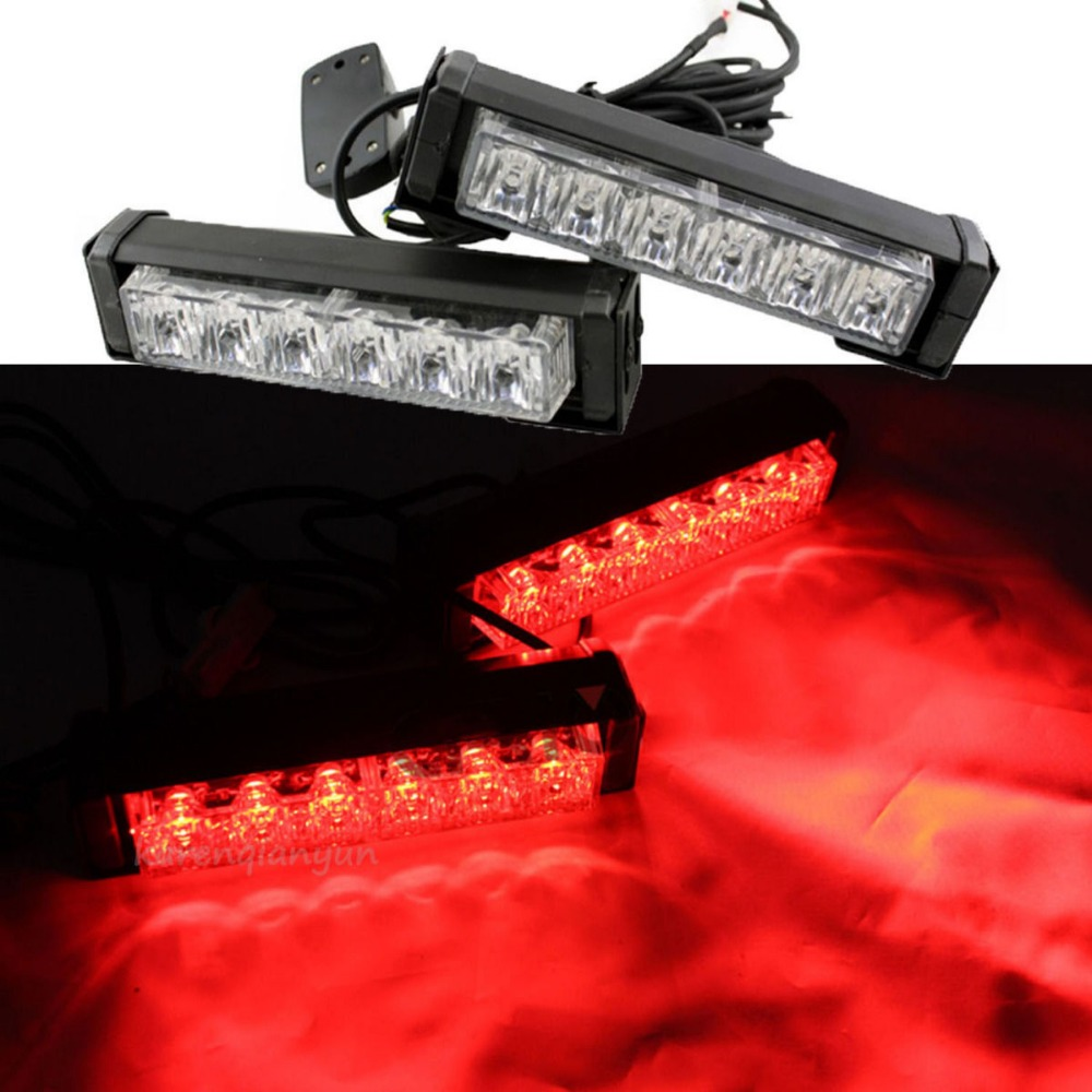 2x 6 LED Car Emergency Beacon Grille Strobe Hazard Warning LED Light Bar Red<br>