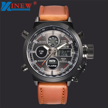 XINEW Fabulous Mens Quartz Sport Military Army LED Watches Analog Stainless Steel Wrist Watch erkek kol saat relogioi Wholesale