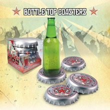 Free Shipping 1 Set Retro Funky Bottle Cap Coasters Giant Bottle Top Drink Coasters Stunning Cup Mat