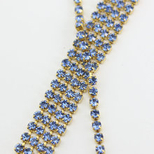 Garment accessories 10yards/lot SS6(2mm) light blue gold base rhinestone cup chain sprase crystal rhinestone chain(China)