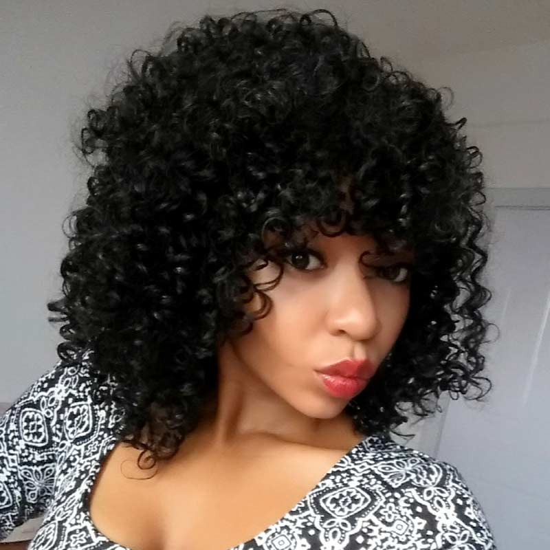 Furice Spring curl Synthetic wig high temperature fiber Hair 16inch Black Afro Machine Wig spring curl short hair wigs<br><br>Aliexpress