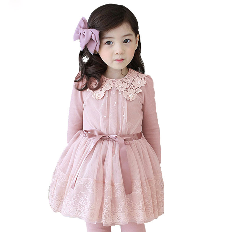 2-9T Girl Dress Princess 2016 New Lace Solid Winter Baby Dress Thicken Warm Long Sleeve Toddler Girl Dresses Ball Gown Vestidos<br>