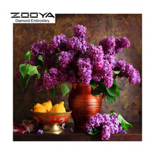 5D DIY Diamond Painting Flower Crystal Diamond Painting Cross Stitch Purple Flower Vase &Fruit Needlework Home Decorative BJ1063