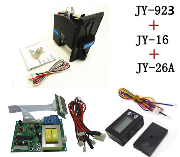 JY923+JY16+JY26A coin operated time control device for cafe kiosk, multi coin selector with 220V timer board and reset counter<br>