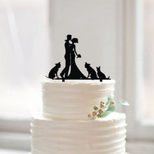 Wedding Silhouette Cake Topper with Dogs Custom Bride and Groom Wedding Toppers Modern Family Party Decoration Mariage Favors