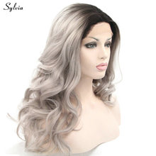 Sylvia Women Hair Style 1B Ombre Gray Heat Resistant Fiber Body Wave Grey Half Hand Tied Synthetic Lace Front Wig Free Shipping(China)