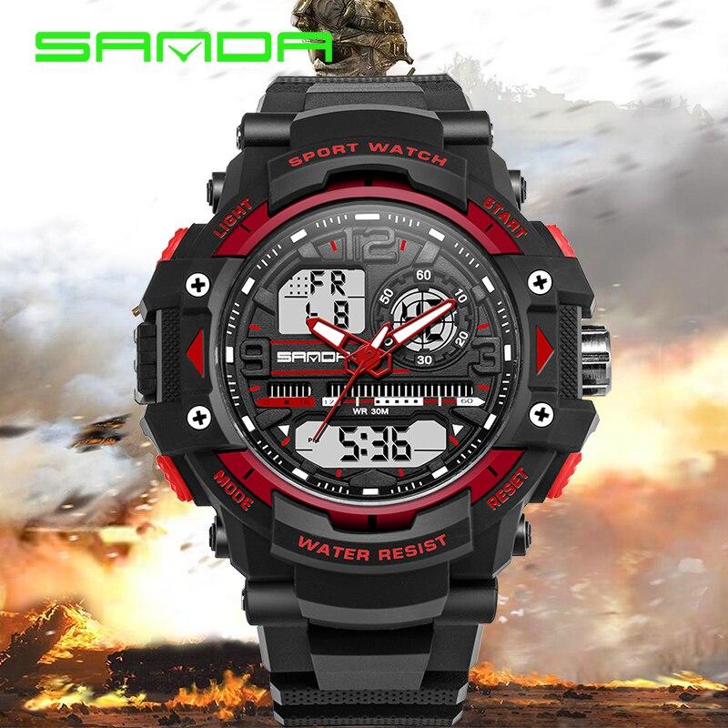 SANDA Fashion Mens Watches LED Waterproof Sports Military Watches Shock Resistant Quartz Digital Luxury Branded Wrist Watches<br><br>Aliexpress