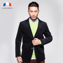 LANGMENG Autumn Winter Fashion Men Blazer Casual Suits Slim Fit Corduroy Suit Jacket Men Costume Blazer jackets Brand Clothing