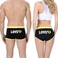 2017 new cotton underwear mid waist mens calzoncillos boxer women triangle couple panties best valentines day