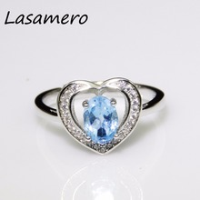 LASAMERO  5*7mm Heart Shape Oval cut Natural Blue Topaz 925 Sterling Silver Engagement Rings for Women Gemstone Fine Jewelry